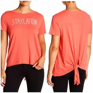 SUNDRY | Pink Tie Back Staycation T-Shirt Sz. M